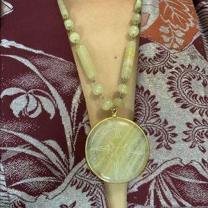 VTG handmade yellow onyx chain Mayan sun necklace
